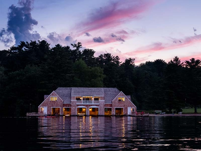 Lake George Boat House at night